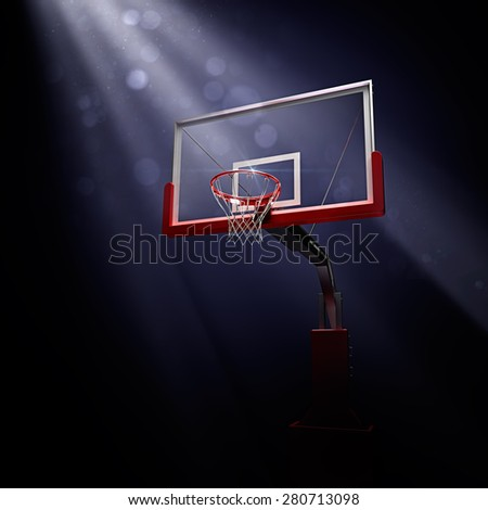 Red asketball houp in light shine. 3d render illustration on black background - stock photo