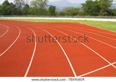 Red Asphalt for runners. - stock photo