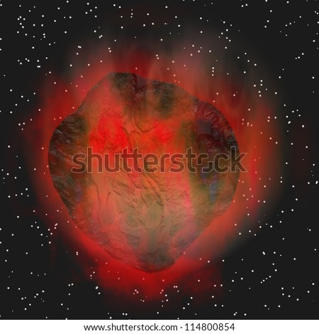 red asteroid in space