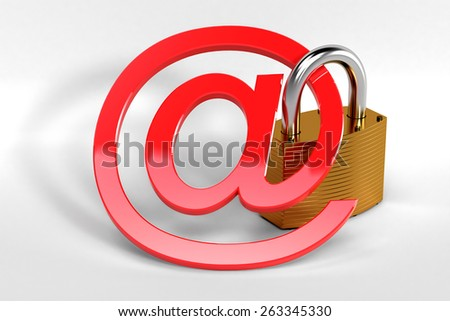 Red at sign secured by a strong metal lock symbolizing a secure web communication - stock photo