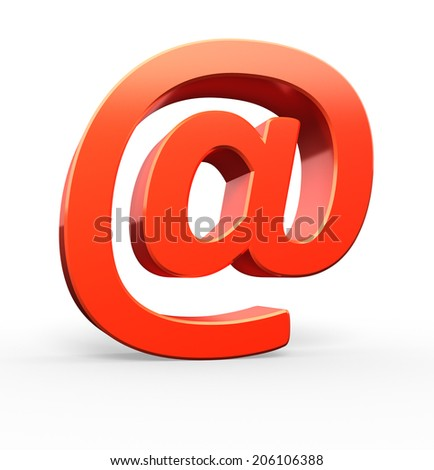 "Red ""at"" symbol, 3d illustration - stock photo"