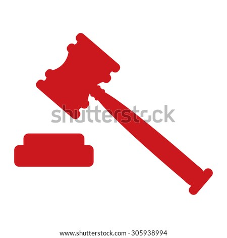 Red Auction Hammer Infographics Flat Icon, Sign Isolated on White Background - stock photo
