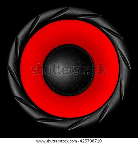 Red audio speaker isolated on black background - stock photo