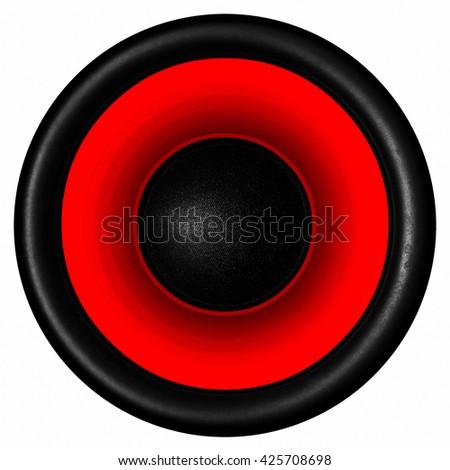 Red audio speaker isolated on white background - stock photo