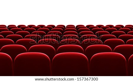 red auditorium chairs isolated - stock photo