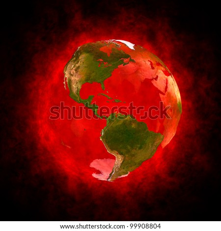 Red aura of Earth - America Elements of this image furnished by NASA. - stock photo