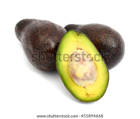 red avocados isolated on white  - stock photo
