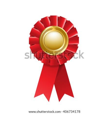 Red award rosette isolated on a white background. Award ribbon - stock photo