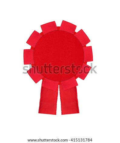red award winning ribbon rosette isolated on white background - stock photo