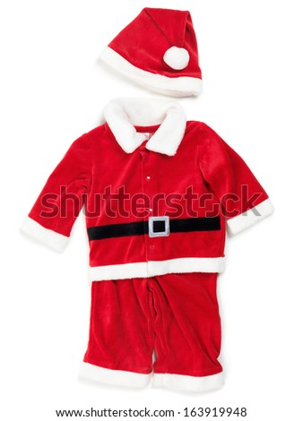 Red baby santa costume. Isolated outfit on white background. - stock photo