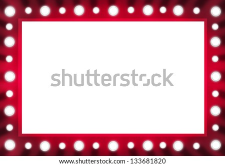 Red Back stage Light Mirror with White Space Background Frame. Illustration layout. - stock photo