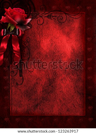 Red background with a red rose and satin ribbon