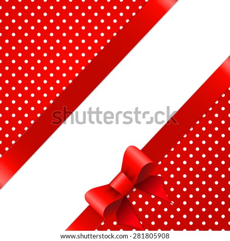 Red background with bow - stock photo