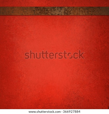 Red background with brown ribbon, vintage texture - stock photo