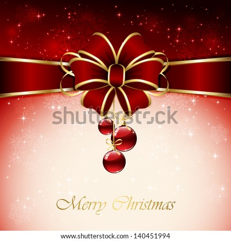 Red background with Christmas balls, bow, snowflake and stars, illustration. - stock photo