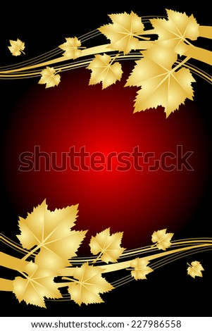 Red background with gold leaves - stock photo