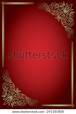 red background with golden decor - stock photo
