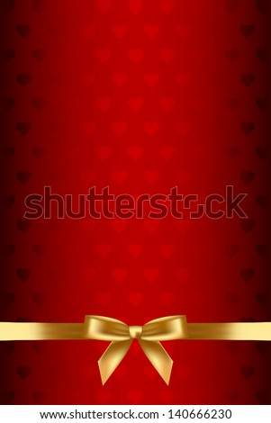 Red background with hearts and gold bow - stock photo