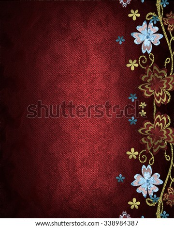 Red background with patterned flowers. Element for design. Template for design. copy space for ad brochure or announcement invitation, abstract background