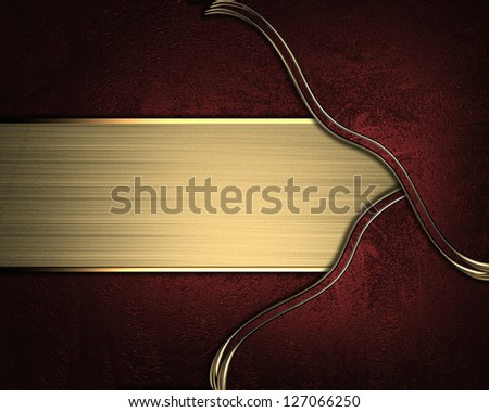 Red background with red inserts and gold nameplate for writing - stock photo
