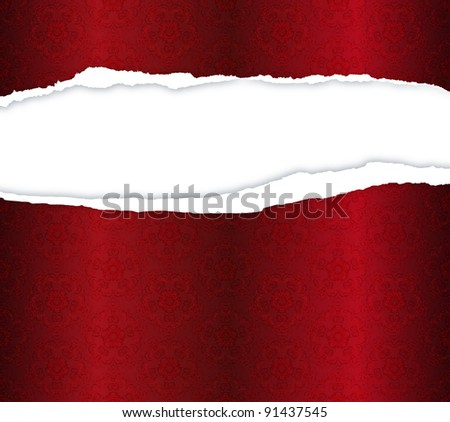 red background with ripped paper