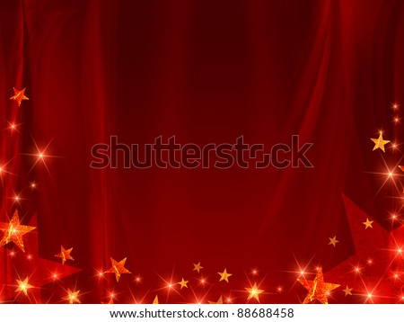 red background with stars and curve line - stock photo