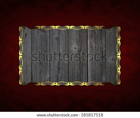 Red background wooden name plate with gold edge. Design template. Design for site