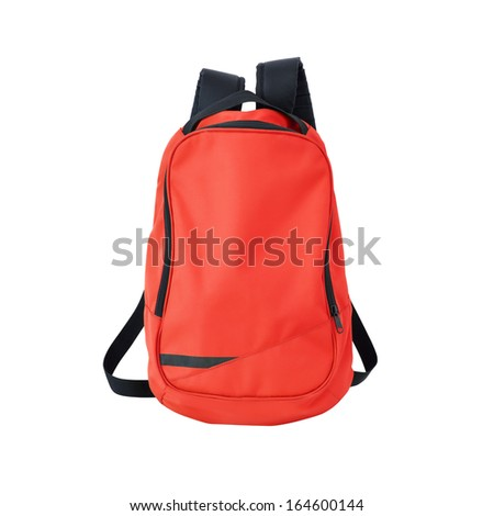 Red backpack isolated on white background w/ path - stock photo