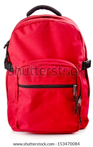 Red backpack standing isolated on white background - stock photo