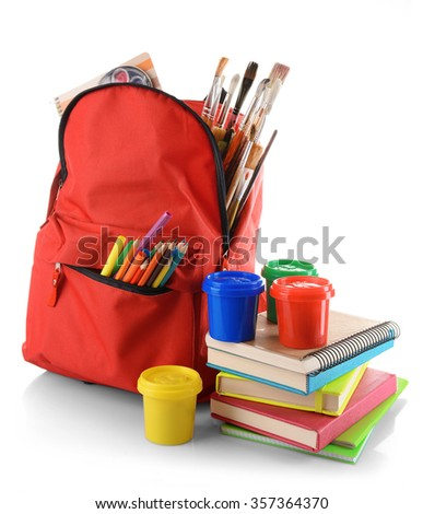 Red backpack with colourful paints isolated on white background - stock photo