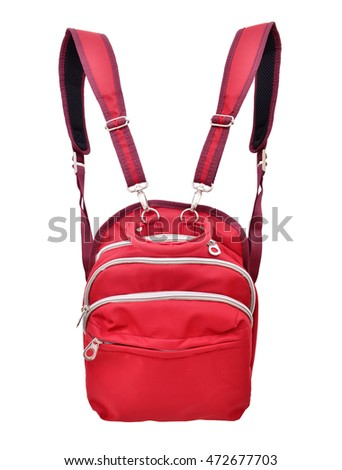 Red backpack with front zippered pouch on white background.