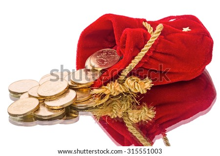 Red Bag of gold coins isolated on white background