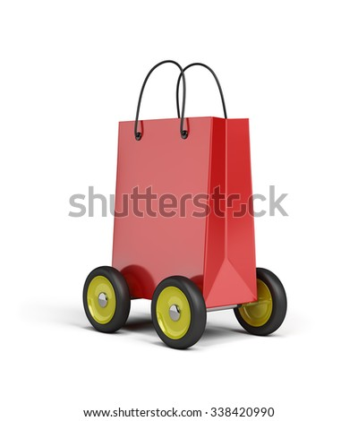 Red bag on wheels. 3d image. White background.