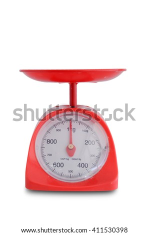 red bakery scale isolated on white background