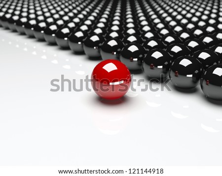 Red ball ahead of black balls. Conception of leadership