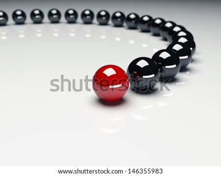 Red ball ahead of black balls. Conception of leadership. 3d render