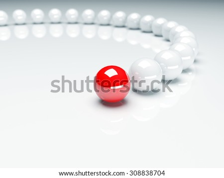 Red ball ahead of white balls. Conception of leadership. 3d render
