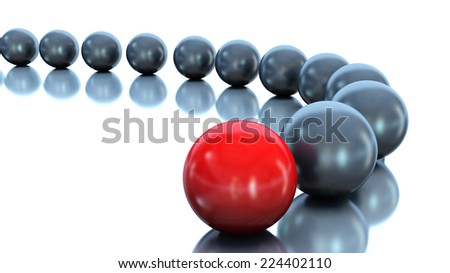 Red ball and black balls. Conception of leadership. 3d illustration
