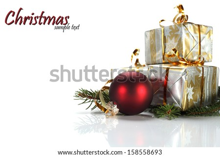 red ball and few gifts on white space