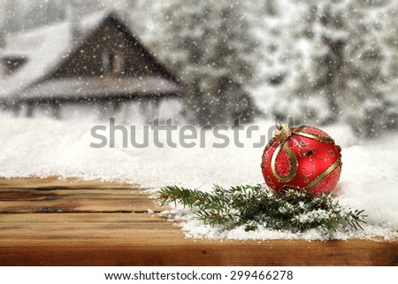 red ball and green tree  - stock photo