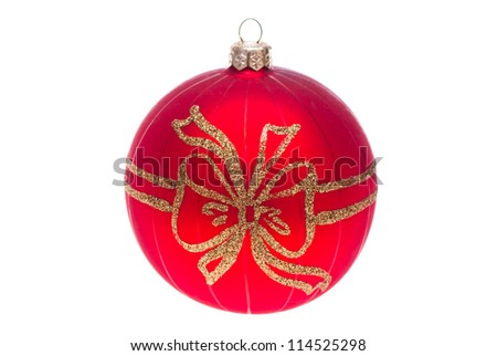 Red ball. Christmas Christmas decorations. Isolated on white.