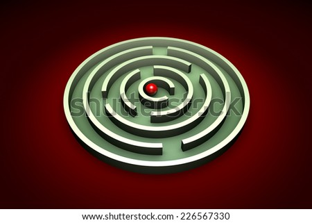 Red ball in the center of the green maze. Artistic background.  - stock photo
