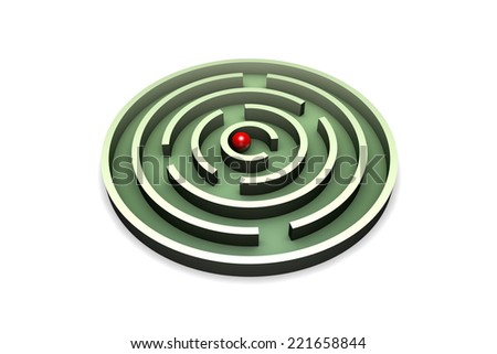 Red ball in the center of the green maze. Isolated over white background.  - stock photo