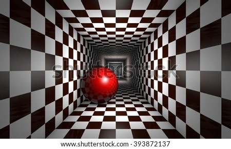 Red ball in the chess tunnel. The space and infinity.