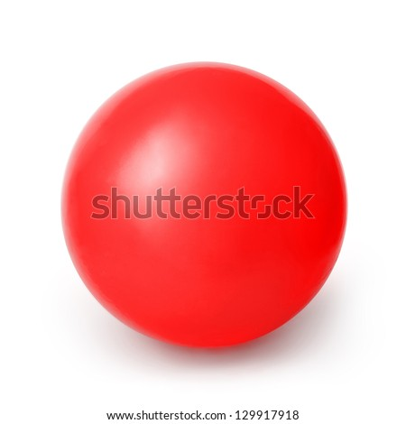 Red ball isolated on a White background with clipping path - stock photo
