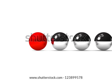red ball leading the others