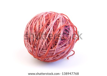 Red ball of woolen threads on a white background - stock photo