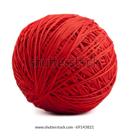 Red ball of yarn - stock photo