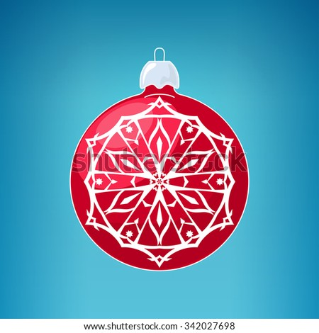 Red Ball with Snowflake , Christmas Ball  on a Blue Background , Christmas Tree Decoration, Merry Christmas and Happy New Year - stock photo