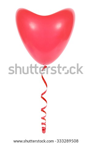 Red balloon a heart isolated on white background - stock photo